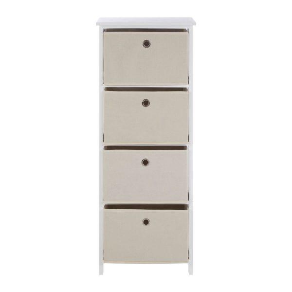 Lando 4 Drawer Natural Fabric Cabinet
