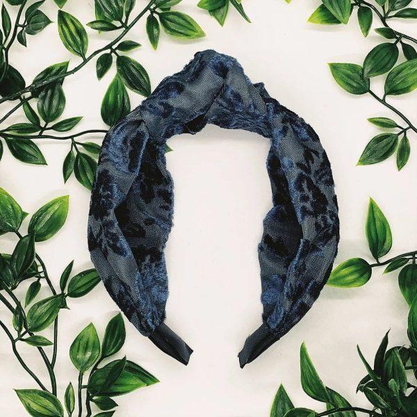 Blue Pamela Top Knot Headband