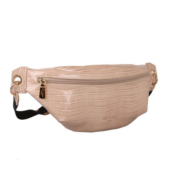 Cream Crocodile Effect Bum Bag