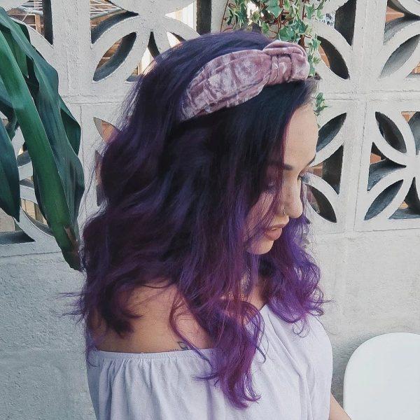 Dusky Pink Crushed Velvet Top Knot Headband
