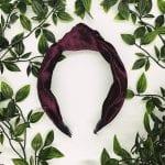 Maroon Velvet Top Knot Headband