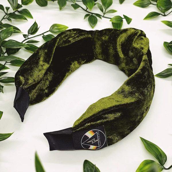 Olive Velvet Top Knot Headband
