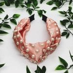 Salmon Pearl Top Knot Headband