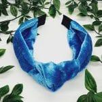 Sea Blue Velvet Dixie Top Knot Headband