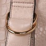 Cream Croc Effect Shoulder Bag