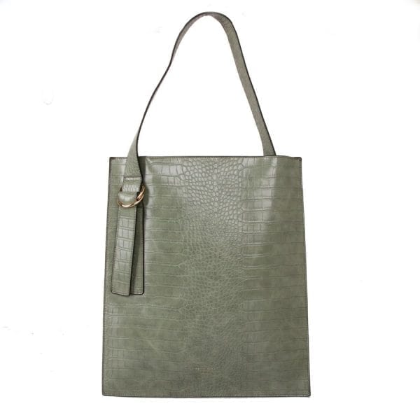 Green Croc Effect Shoulder Bag