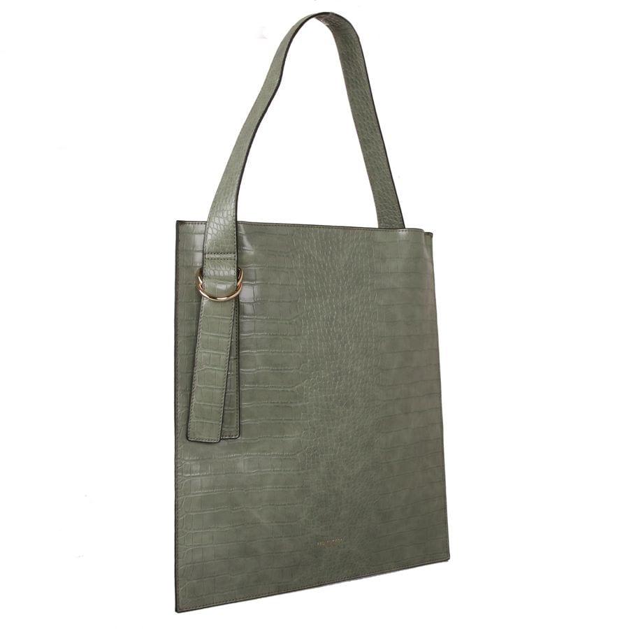 Green Croc Effect Shoulder Bag