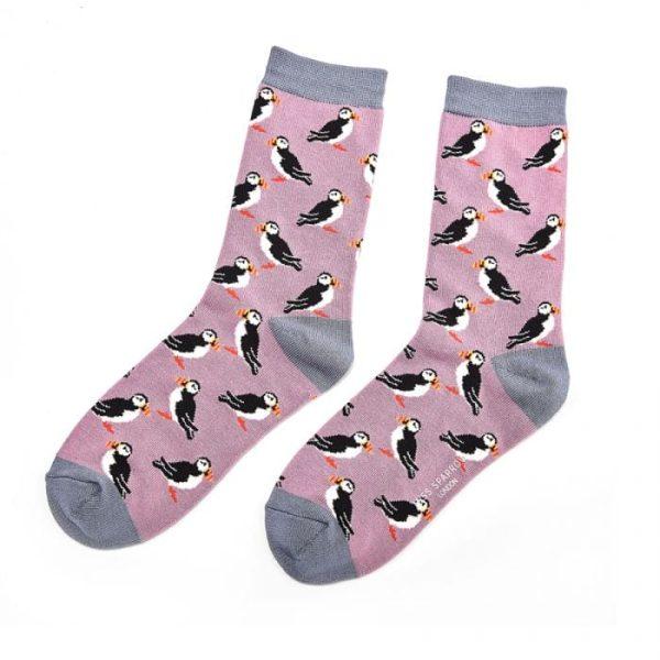 Mauve Puffins Socks