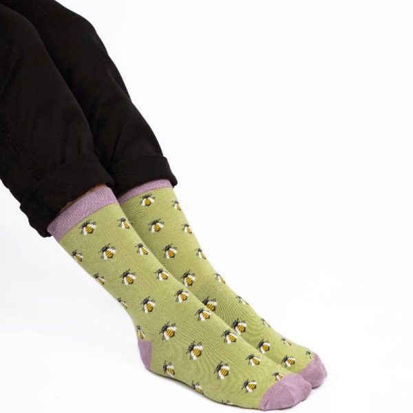 Olive Honey Bees Socks