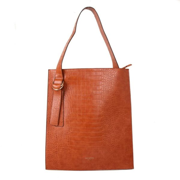 Tan Croc Effect Shoulder Bag