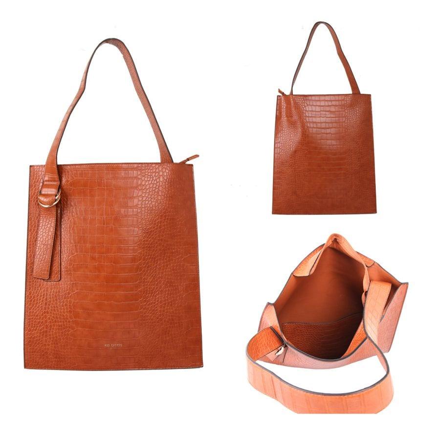 Tan Croc Effect Shoulder Bag