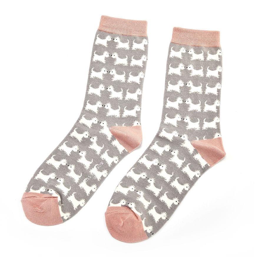Grey Scottie Dogs Socks