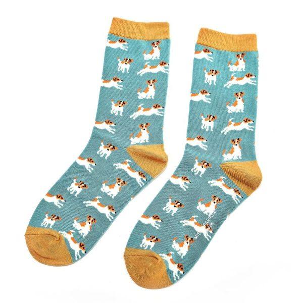 Turquoise Jack Russels Socks