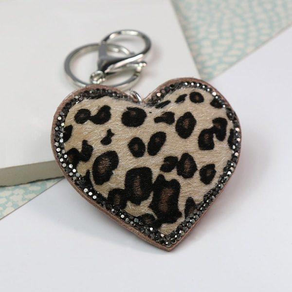 Beige Animal Print & Crystal Heart Keyring