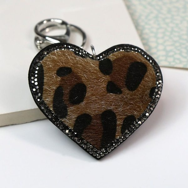 Camel Animal Print & Crystal Heart Keyring