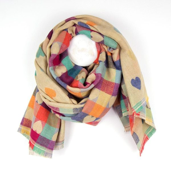 Ecru Mixed Heart Pattern Winter Scarf