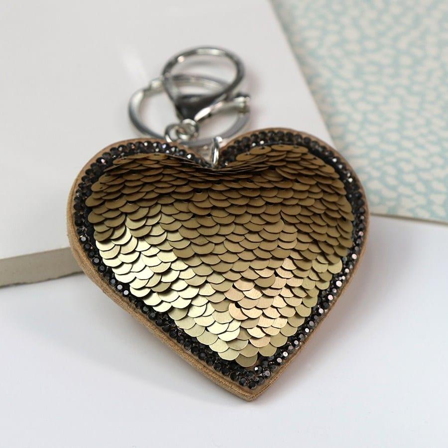 Gold & Black Sequined Heart Keyring