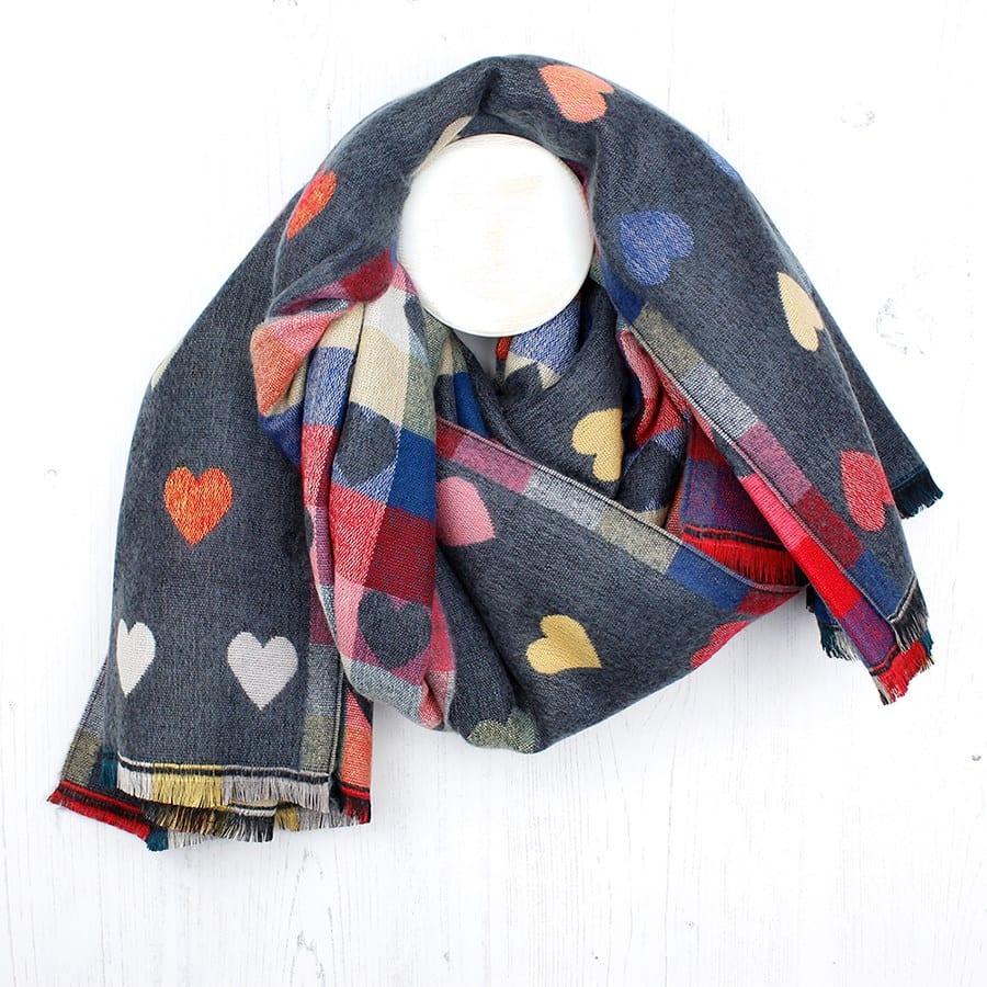 Grey Mixed Heart Pattern Winter Scarf