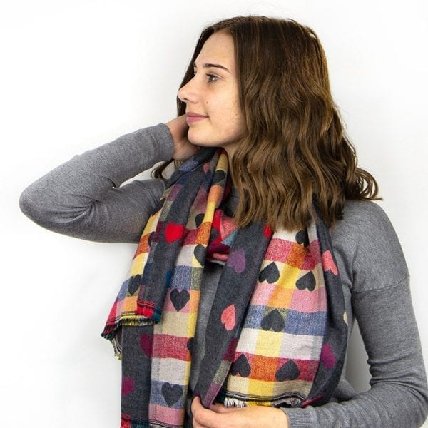 Grey Mixed Heart Pattern Winter Scarf