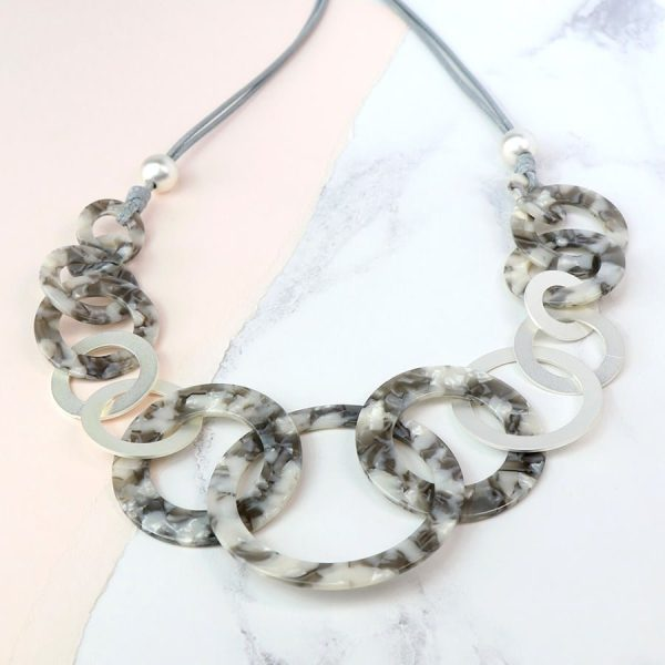 Grey Resin Matt Silver Multi Hoop Necklace