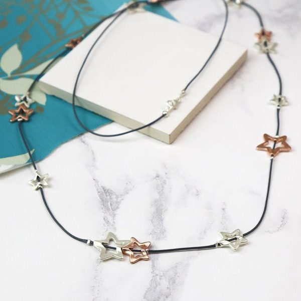 Long Multi Star Fine Cord Necklace