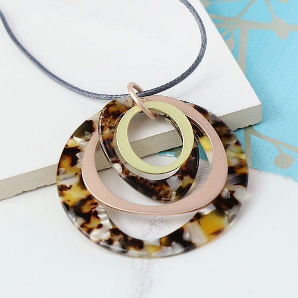 Multi Hoop Taupe And Rose Gold Necklace