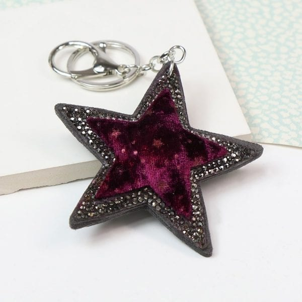 Plum Velvet Star Shaped Keyring