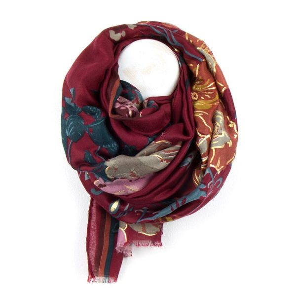 Red & Gold Floral Folk Print Scarf