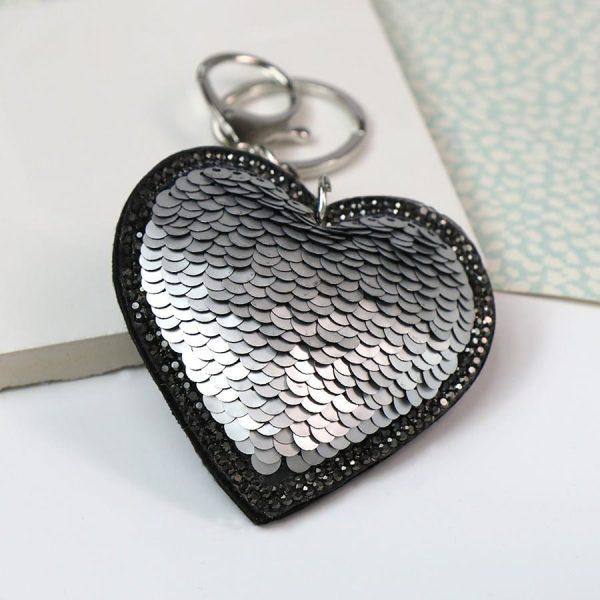 Silver & Black Sequined Heart Keyring