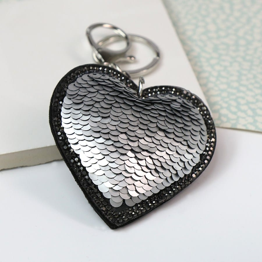Silver & Black Sequined Heart Keyring