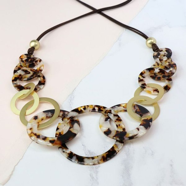 Taupe Resin Matt Gold Multi Hoop Necklace