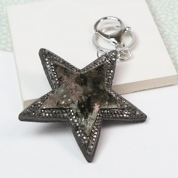 Taupe Velvet Star Shaped Keyring
