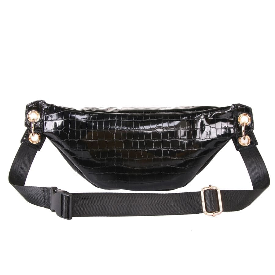 Black Crocodile Effect Bum Bag