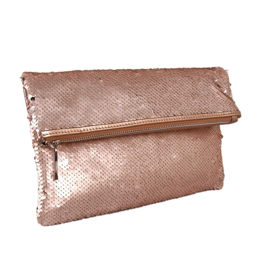 Champagne Foldover Sequin Clutch Bag