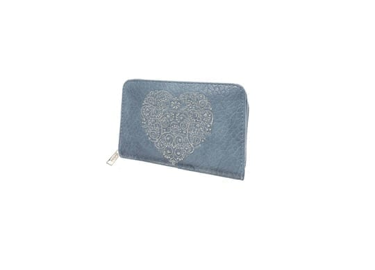 Denim Silver Heart Purse