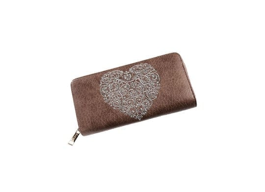 Large Mocha Silver Heart Purse