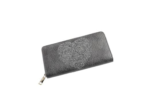 Large Storm Grey Silver Heart Purse