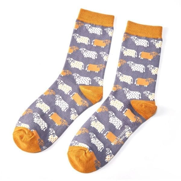 Blue Cute Cows Socks