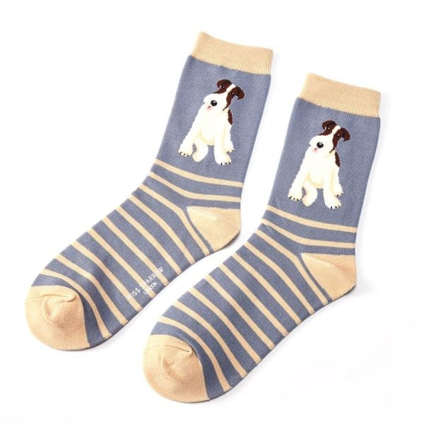 Blue Stripe Fox Terrier Socks