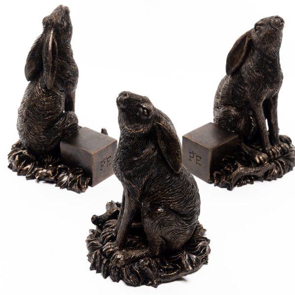 Bronze Moon Gazing Hare Set of 3 2