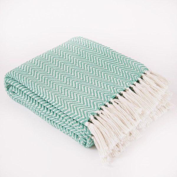 Aqua Herringbone Blanket