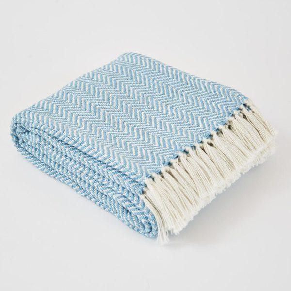 Azure Herringbone Blanket