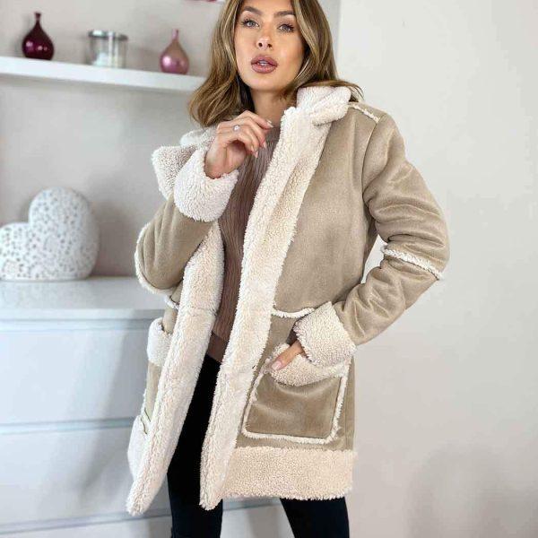 CASSANDRA | LONGLINE FAUX SHERLING COAT
