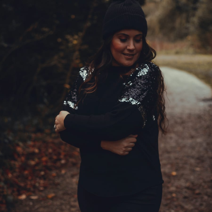 Black Sequin Shoulders Top 2