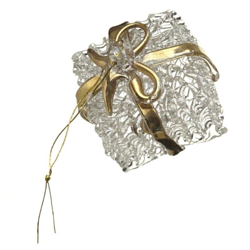 Glass Present Gold Ribbon
