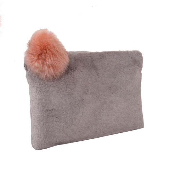 Grey Faux Fur Pom Clutch