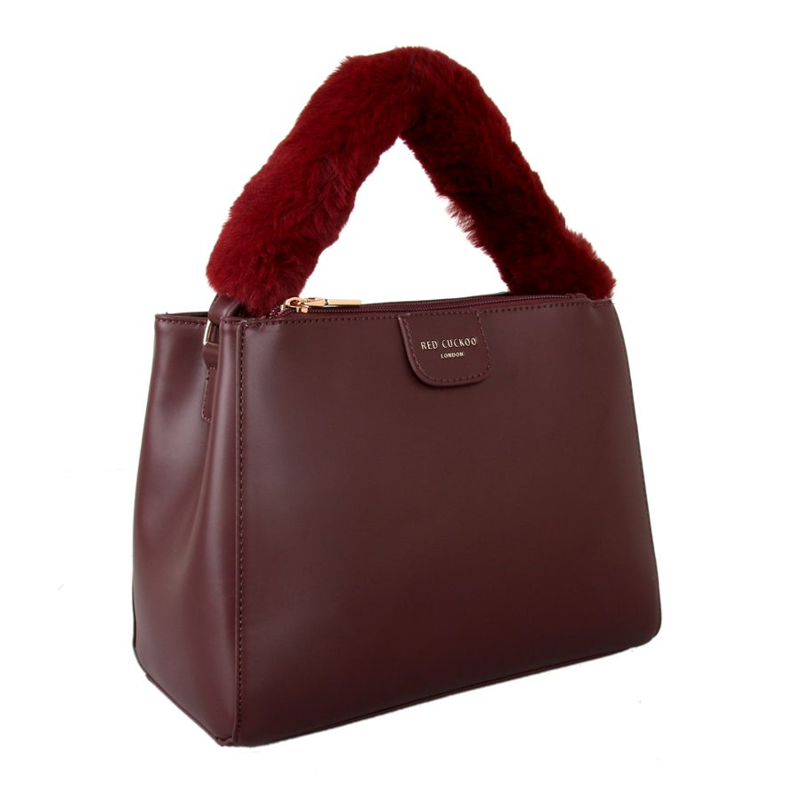 Burgundy Fluffy Handle Grab Bag