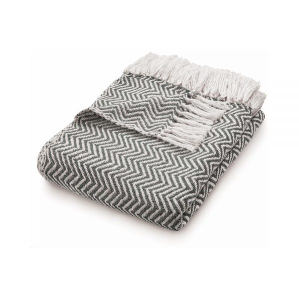 Herringbone Warm Grey Throw
