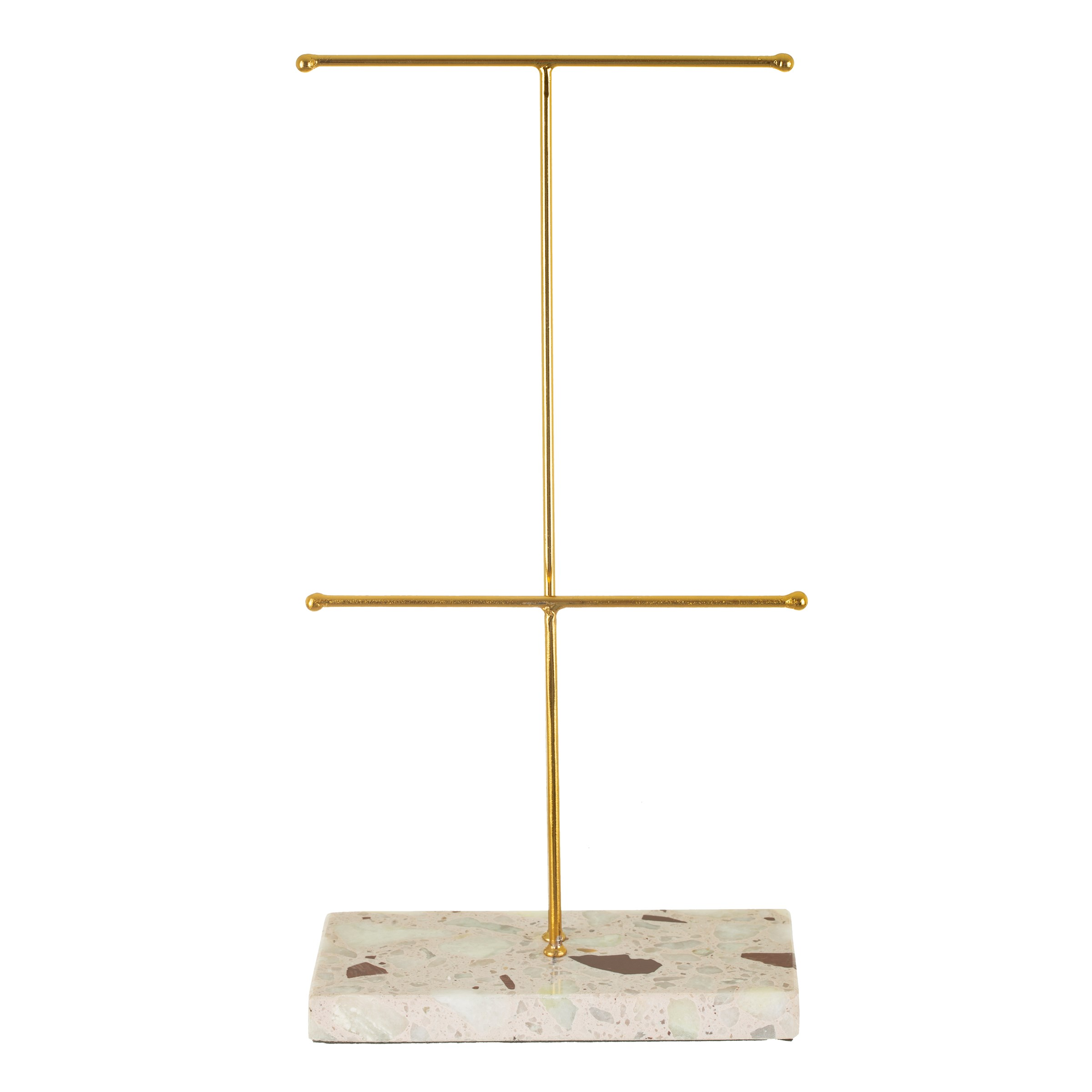 Double Terrazzo Gold Jewellery Stand