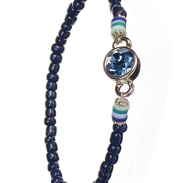 Navy Crystal Row Bead Bracelet